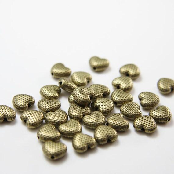 30pcs Antique Brass Tone Base Metal Spacers-Heart 9x8mm (11219Y-B-238B)