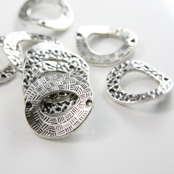10pcs Oxidized Silver Tone Base Metal Links-Textured/Patterned Oval 25x21mm (10445Y-G-127A)