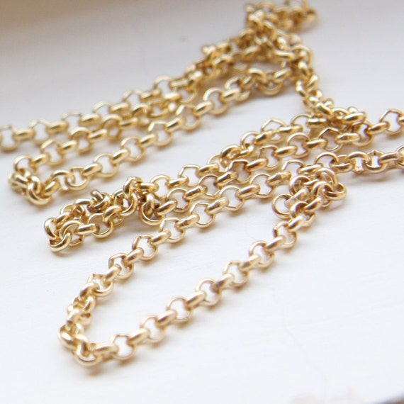 3 Feet Matte 16K Gold Plated Brass Base Chains-Rolo 3mm (420C06)