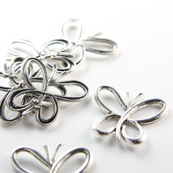 6pcs Oxidized Silver Tone Base Metal Pendant-Butterfly 27x28mm (12549Y-B-335)