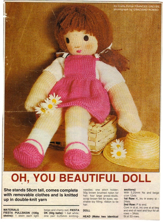 Knitting Pattern Large Rag Doll : Vintage Beautiful Toy Rag Doll Complete With Clothes by ...