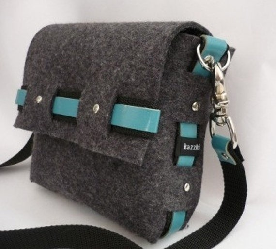 Small Grey Industrial Wool Felt with Aqua turquoise Leather Messenger Bag