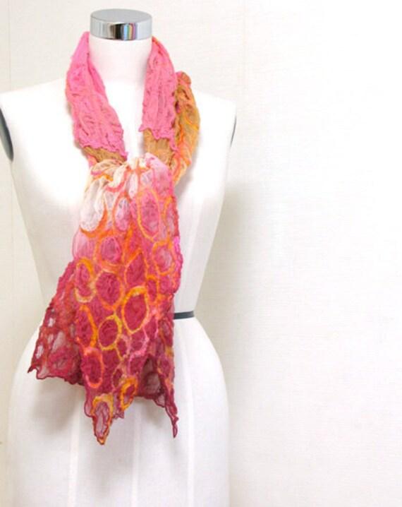 SALE / circles / nuno felted silk scarf