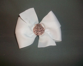 White Seashell Hairbow with No Slip Grip- FREE SHIPPING
