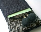 IPHONE 4 POUCH with POCKET Midnight, Iphone 4S case, 3G iphone cover, ipod touch, padded sleeve camera
