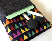 IPHONE POUCH with POCKET 4 4S or 3G - Bunting, Multicolored- padded, camera, travel
