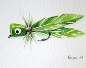 Green Bass Bug Popper Original Watercolor