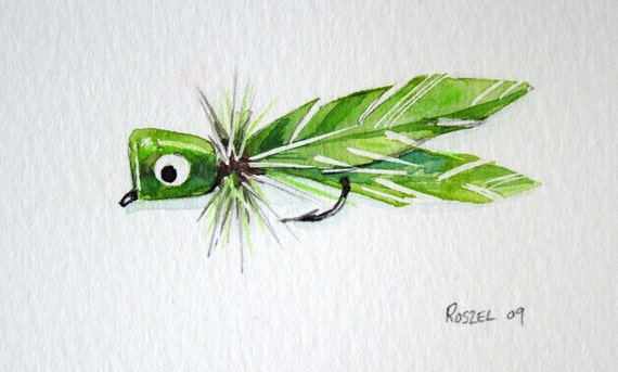 Green Bass Bug Popper Original Watercolor