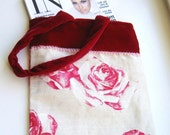 SALE Luxury Bag of Roses and Velvet with Pink and Silver Beade Trim