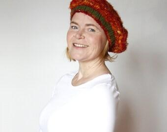 SALE Beret hand knitted in Sari Silk  an autumn dream