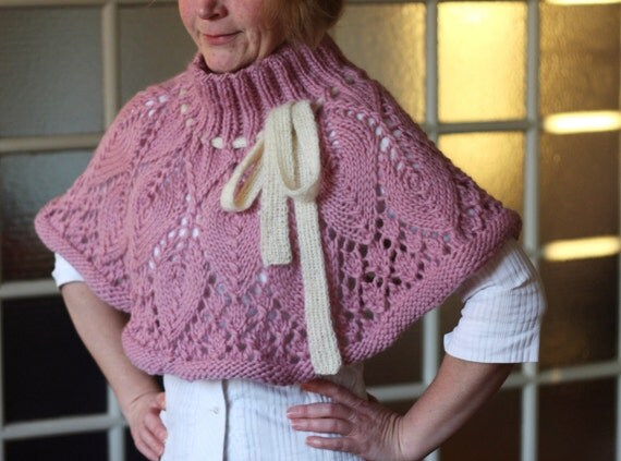 SALE Lovely Hand Knit Lacy Leaf Capelet