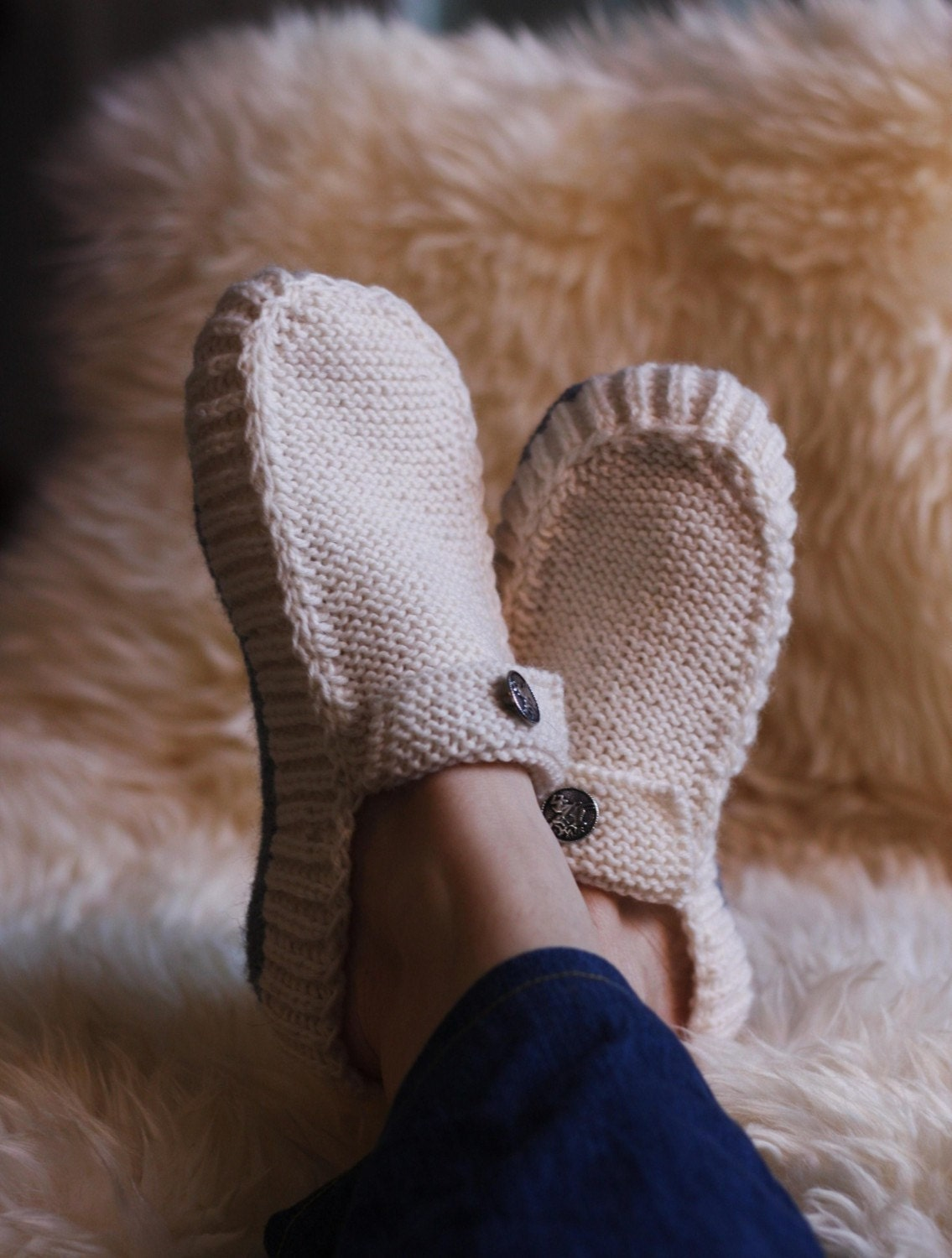 Slipper Patterns Knitting : All Seasons Slippers Knitting Pattern. by byEline on Etsy