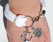 Nautical bracelet, white crochet, silver rudder and anchor - made to order