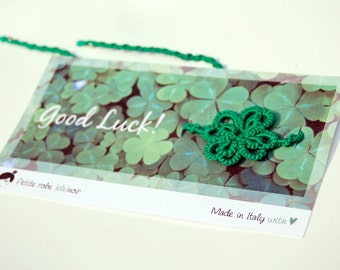 Lucky four-leaf clover friendship bracelet, cotton lace and sterling silver beads - made to order
