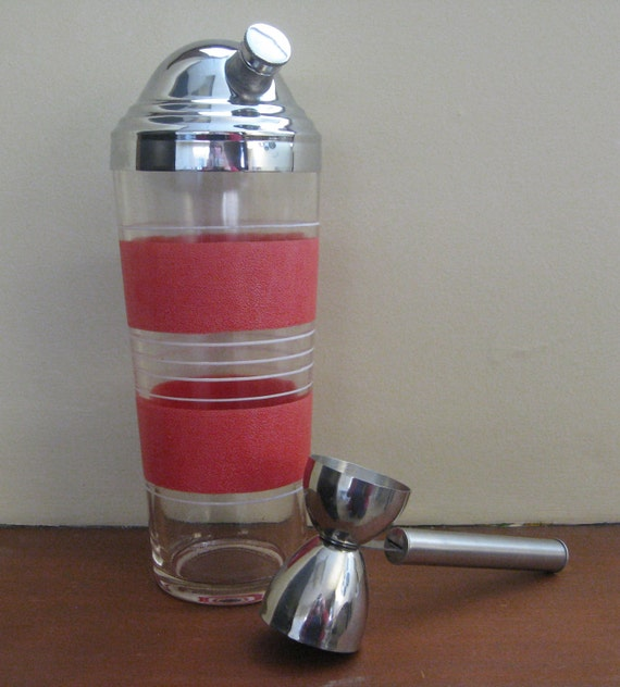 Vintage Glass Cocktail Shaker with Stainless Steel Lid