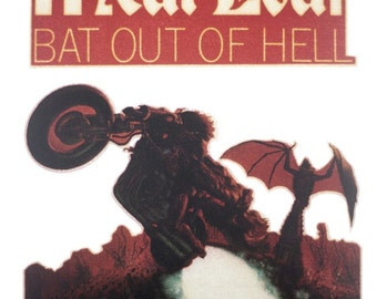 Vintage MEAT LOAF Bat Out of Hell Iron On Transfer