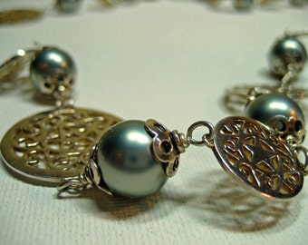 Silver Lace Coins and Misty BLue Grey Pearls