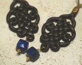 HONKY CAT--Lapis, Leather, Gold-filled