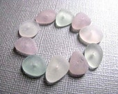 Sea Glass Beads , 10 Bulk Beach Glass , Sea Glass Pastels, Drilled Sea Glass