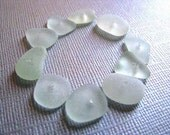 Bulk Sea Glass , 10 Bulk Beach Glass , Drilled , Seafoam, Sea Glass Beads , Beach Glass Beads