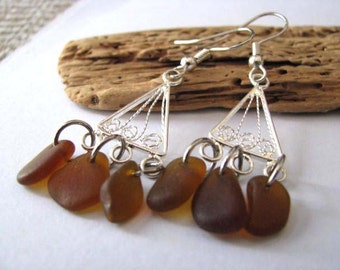 Sea Glass Earrings - Amber Brown Drop Earrings - Chandelier Earrings