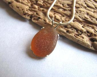 Amber Beach Glass Pendant - Sea Glass Jewelry - Sea Glass Necklace - Beach Glass Jewelry