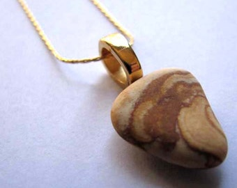 Ocean Jewelry - Earthenware Pendant - Sea Glass Necklace- Ceramic Pendant -Beach Glass Jewelry -Unique Earthenware Necklace - Jewelry Gift