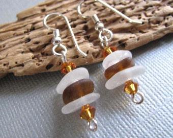 White and Brown Earrings - Stacked Sea Glass Jewelry - Beach Glass Earrings - Dangle Earrings