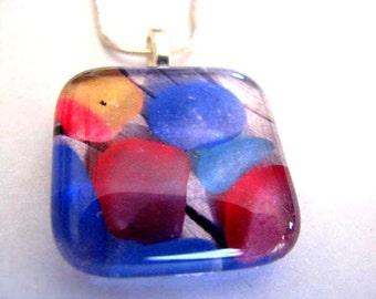 Sea Glass Tile Pendant - Sea Glass Photo - Colorful Sea Glass Photo - Ocean Jewelry Gift - Child Sea Glass Gift - Sea Glass Birthday Gift