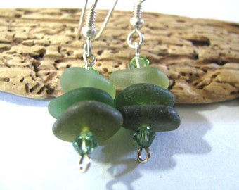 Beach Glass Earrings - Sea Glass Stacked Earrings - Shades of Green Dangle Earrings