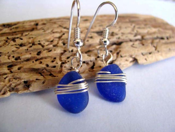 Cobalt Blue Wire Wrapped Sea Glass Earrings