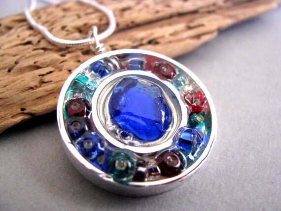 Blue Sea Glass  - Silver Circles - Sea Glass Necklace - Unique jewelry