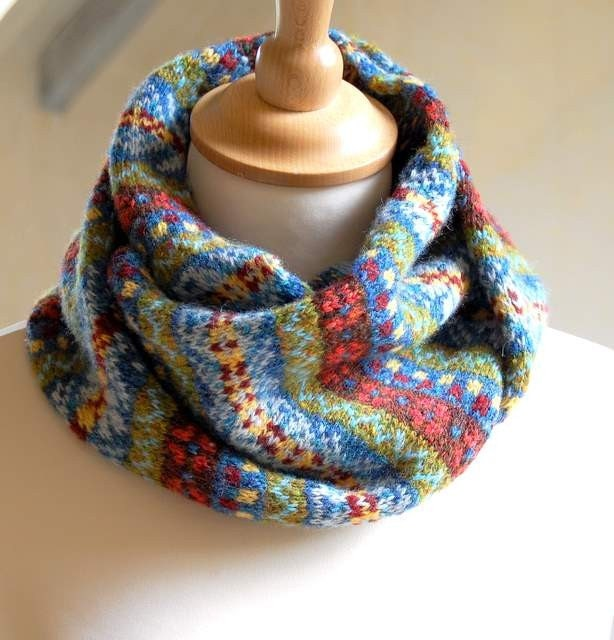 Hand Knit Fair Isle Scarf Grey Cashmere And Wool Blends