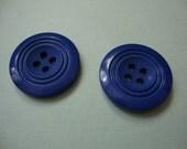 Vintage Buttons - blue, ridged