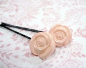 Button Pink Rose Bobby Pins