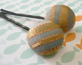 Blue and Gold Button Bobby Pins