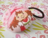 Fabric Covered Button Ponytail Holder - Strawberry Shortcake