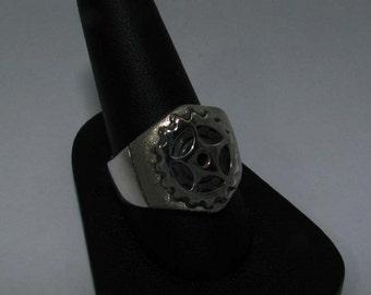mans sprocket ring in sterling silver