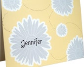 Custom Personalized Notecards Stationery - Gerber Gerbera Dasiy Yellow and Grey