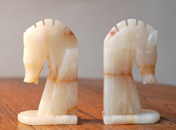 Vintage Pair of Carved Alabaster Horse Head Bookends