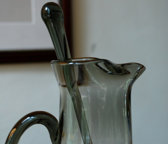 Vintage Mid Century Large Smoked Glass Cocktail Pitcher Mad Men