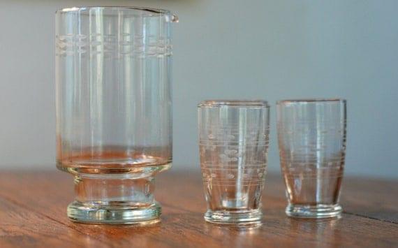 Vintage Etched Glass Drink Mixer Serving 4 Piece Set