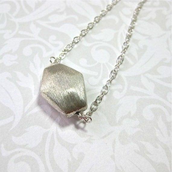 Sterling Silver Pendant Necklace, brushed silver pendant, sterling silver chain