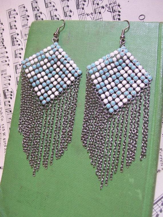 S A L E. - Vintage 1970s Earrings : Chain Chandelier Turquoise Checker Earrings