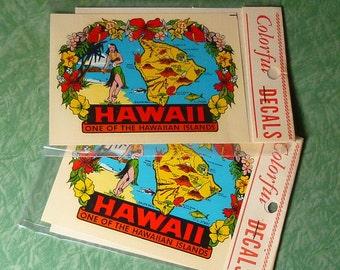 Vintage Hula Girl Hawaii Big Island Water Decal MIP Circa 1960's Set of Two