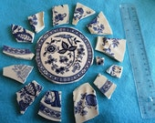 Shabby Vintage China Mosaic Blue and White Pieces with Focal Piece