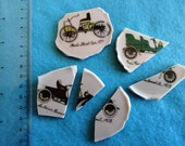 Shabby Vintage China Mosaic Antique Car Focal Pieces