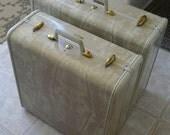 SALE - Vintage Set of 2 Samsonite Hard Suitcases in Marbled Cream, with Original Keys and Hangers