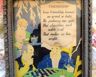 Vintage friendship motto print, unusual, male friends playing checkers, original frame
