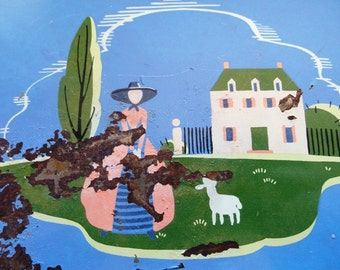 Darling vintage tray, painted metal, Little Bo Peep and her sheep, flowers, house